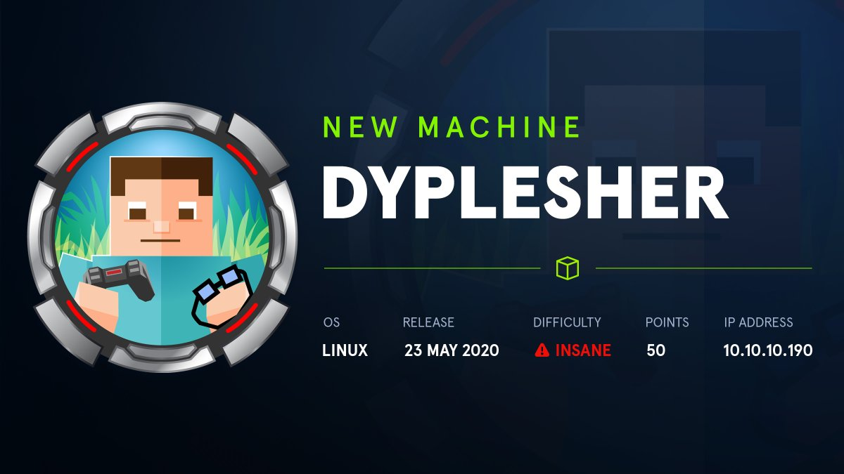 HTB Walkthrough Dyplesher 10.10.10.190
